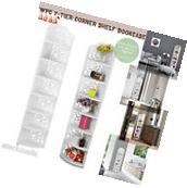 White WPC 7-Tier Corner Shelf Display Rack Bookcase Storage