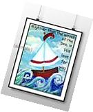 Whmsical sailboat nautical nursery wall print bible quote