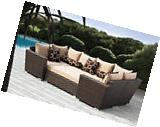 Outdoor Wicker Patio Furniture 6pc Sofa Seating Set W/