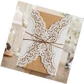 Wishmade Laser Cut Handmade Wedding Invitations Cards White