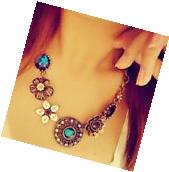 Women Crystal Flower Pendant Choker Chain Bib Statement