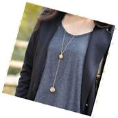 New Fashion Women Necklace Double Gold Plated Long Chain