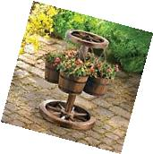 Wood Barrel Planter Garden Pot Flower Plant Large Rustic