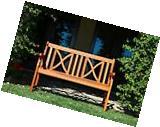 Outdoor Wood Bench 4-Feet Love Seat Patio Furniture Garden