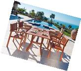 Outdoor Dining Set Wood 5 Pc Curved Table & 4 Chair Patio