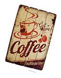 "Large 24"" Wood Distressed Retro Coffee Kitchen Decor Wall"