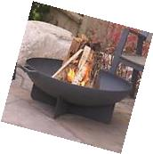Wood Fire Pit Heavy Gauge Steel Bowl with Spark Screen Poker