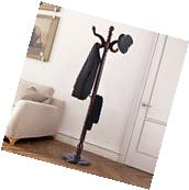 "71"" Wood Hat Coat Rack Hanger Tree Stand Hallway Entry Home"