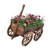 Wood Wagon Flower Planter Pot Stand W/Wheels Home Garden