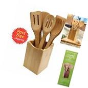 Wooden Cooking Kitchen Set 7 Piece Utensil Spoon Bamboo