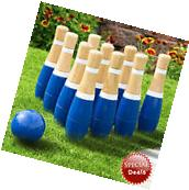 Wooden Lawn Bowling Set Kids Family Yard Play Games Outdoor
