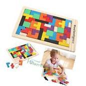 Wooden Tangram Brain Teaser Puzzle Toy Tetris Educational