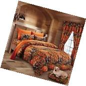 7 PC WOODS ORANGE CAMO COMFORTER AND SHEET SET KING SIZE!