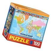 EuroGraphics World Map for Kids Mini Jigsaw Puzzle 100-Piece