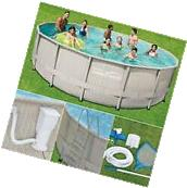 "Intex 15' x 48"" Metal Frame Above Ground Swimming Pool with"