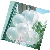 "100Pcs x10"" Transparent Latex Balloons Birthday Wedding"