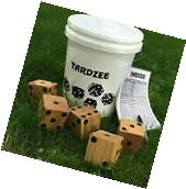 Yardzee Outdoor 5 Cedar Wood Lawn Yard Dice Game Deluxe Set