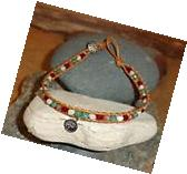 Yoga Beaded Leather Wrap Anklet With Sterling Silver Yin