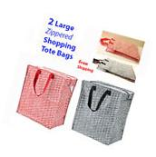 IKEA 2-Pk Zipper Shopping Bags Reusable Grocery Gift Knalla