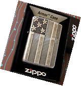 Zippo 28974 Armor Flag Stars Bars Antique Silver Plate