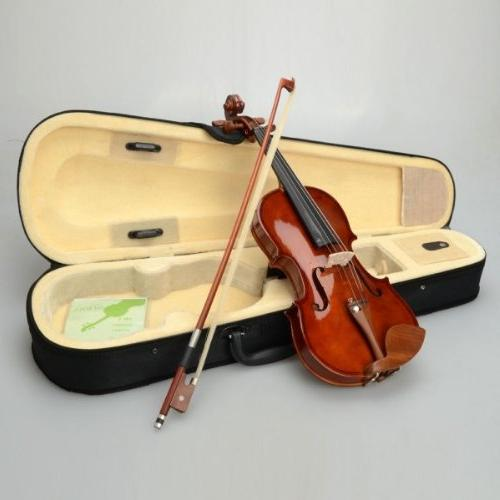New 1/4 Natural Basswood Acoustic Violin + Case + Bow +