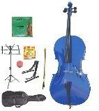 GRACE 1/4 Size Blue Cello with Bag and Bow+Rosin+Extra Set