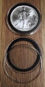 10 Black Ring Type 40mm Air Tite Coin Holders for American