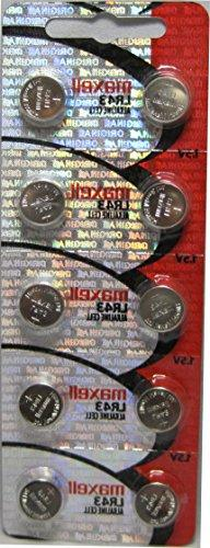 10pcs Maxell LR43 1.5v Alkaline Button Batteries also known