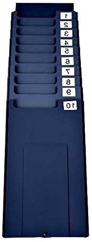 10 pocket wall mount time card holder rack, fits cards up