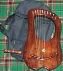 10 Strings ROSEWOOD Lyre Harp Celtic + Tuning Key & bag Case