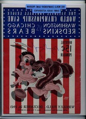 12/26/1943 World Championship Game Program Bears Autographed