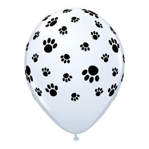 12 White Balloons with Black Paw Prints - Woof