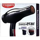 RED BY KISS 1875 CERAMIC IONIC HAIR BLOW DRYER W/ 2