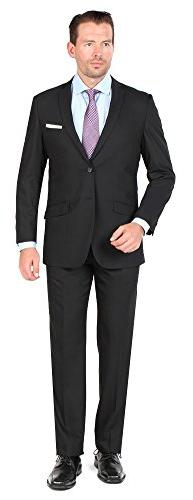 Tazio Mens 2 Button 2 Piece Slim Fit Suit Black 40L