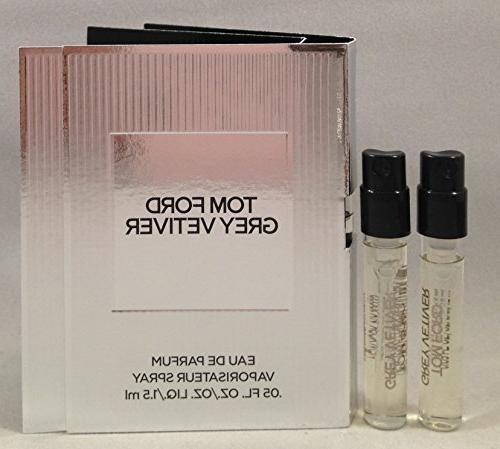 2 Tom Ford Grey Vetiver EDP Spray Sample Vial for Men