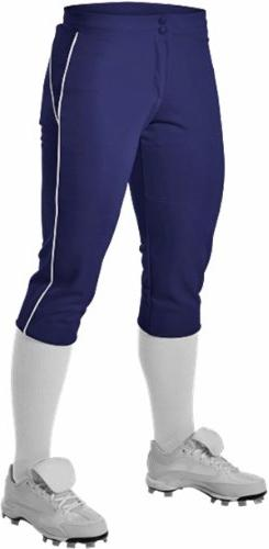 Alleson Women's Fastpitch Pants with Piping - Grey/Navy -