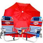 2 Red Tommy Bahama Backpack Cooler Beach Chairs Plus + 7'