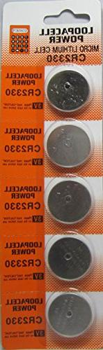 Loopacell 2330 CR2330 3V Lithium Battery x 5 Batteries