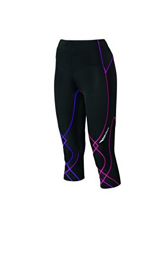 Women's 3/4 Stabilyx Tights, Black/Purple Gradation, X-