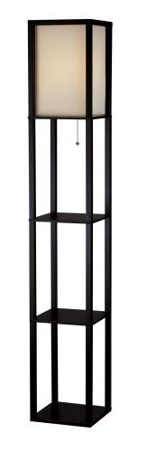 Adesso 3138-01 Wright Real Wood Tall Floor Lamp, Black