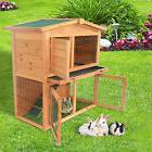PawHut 40'' Wooden Rabbit Hutch A-Frame Pet Cage Wood Small