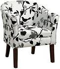 Coaster Home Furnishings 460406 Bird Pattern Fabric Accent Barrel Chair Black