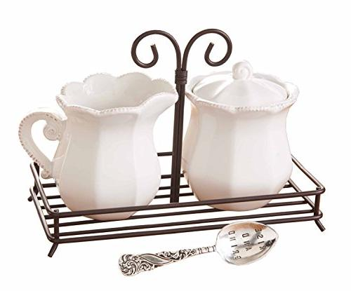Mud Pie 4781001 Circa Style Cream and Sugar Set with Spoon