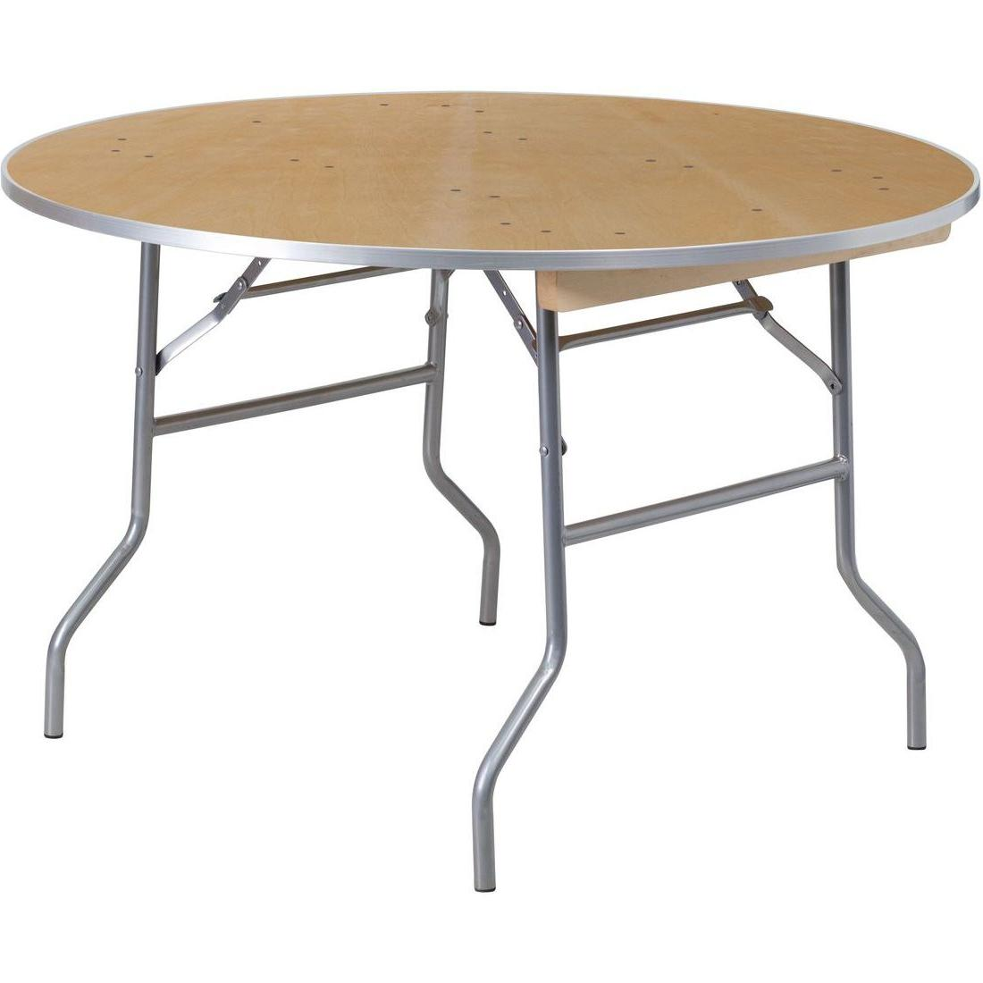 48'' Round Heavy Duty Birchwood Folding Banquet Table with