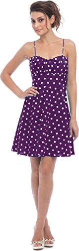 50's Retro Rockabilly Polkadot Dress Sundress, 2X, Purple