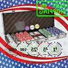 500 Chips Poker Dice Chip Set Texas Hold'em Cards w/