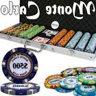 New 500 Monte Carlo 14g Clay Poker Chips Set Black Aluminum