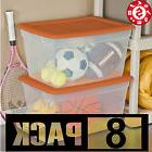 8 Large Plastic Tote STORAGE CONTAINER Clear Stackable Box