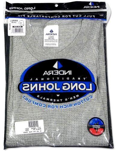 Indera - Mens Long Sleeve Thermal Top, Grey, 810LS 27464-