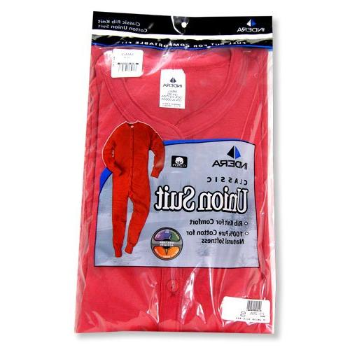 Indera - Mens Long Sleeve Union Suit, Red, 865 19255-Large